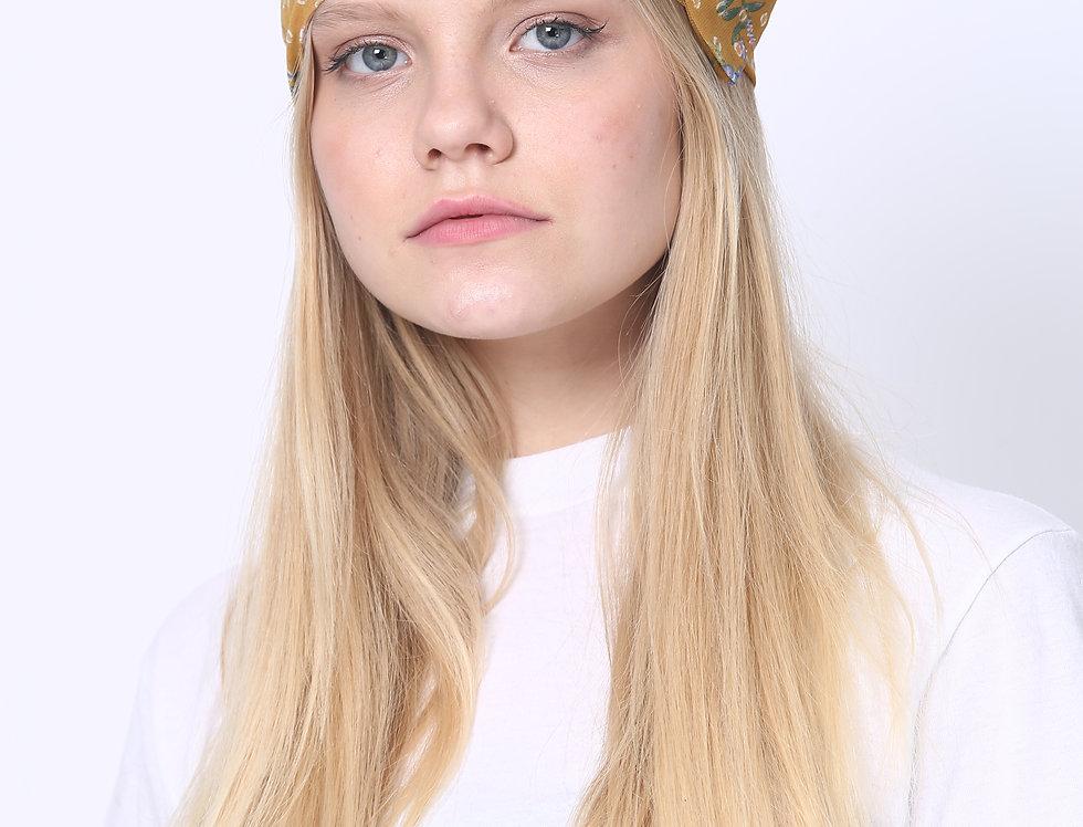Thin Bow Headband - Mustard Floral