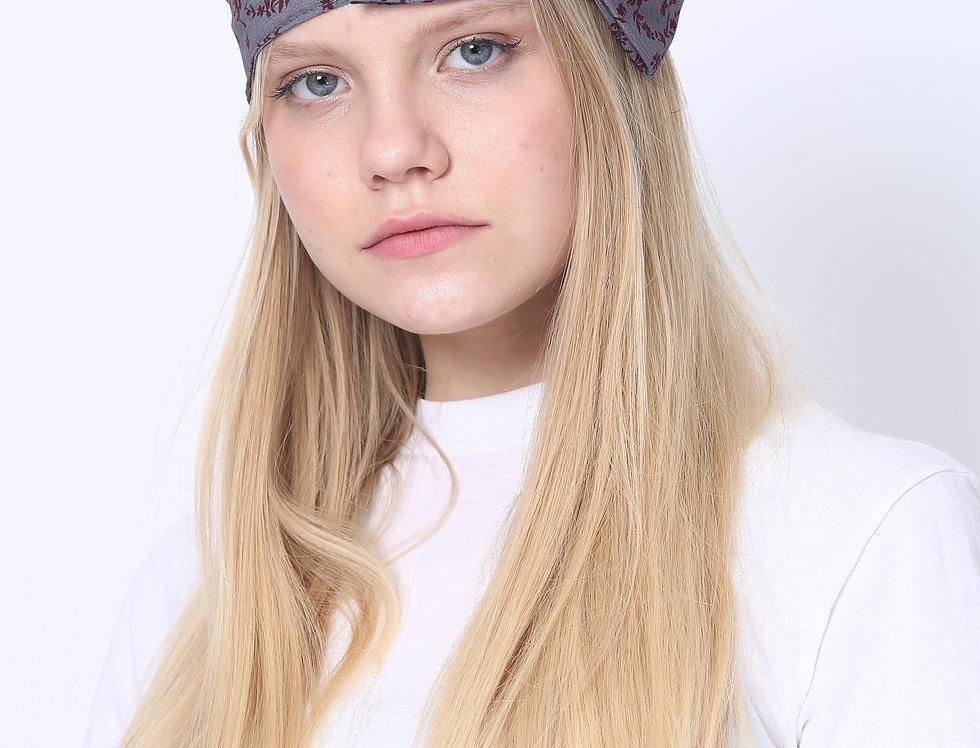 Thin Bow Headband - Grey Bordeaux Flowers