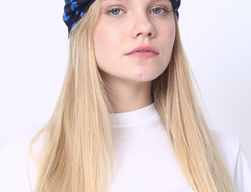 Thin Turban - Leopard Navy Blue
