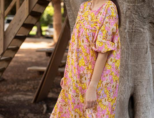 Yellow n pink dress