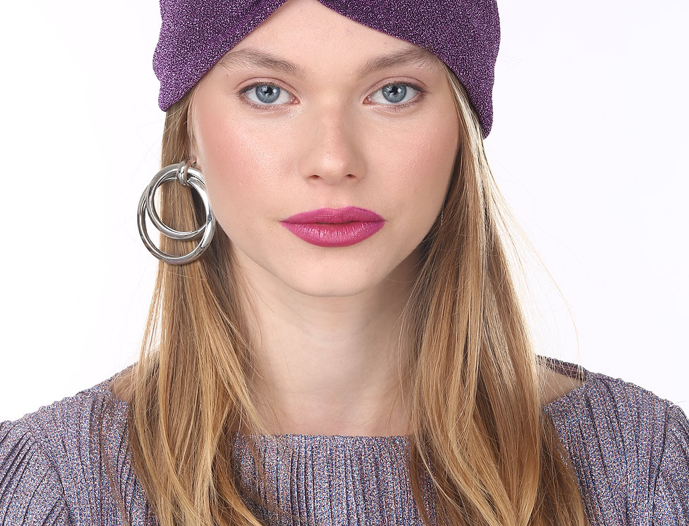 Thin Turban - Purple Glitter Lurex