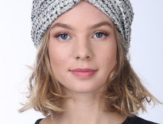 Thin Turban - Lurex Woven White/Gold