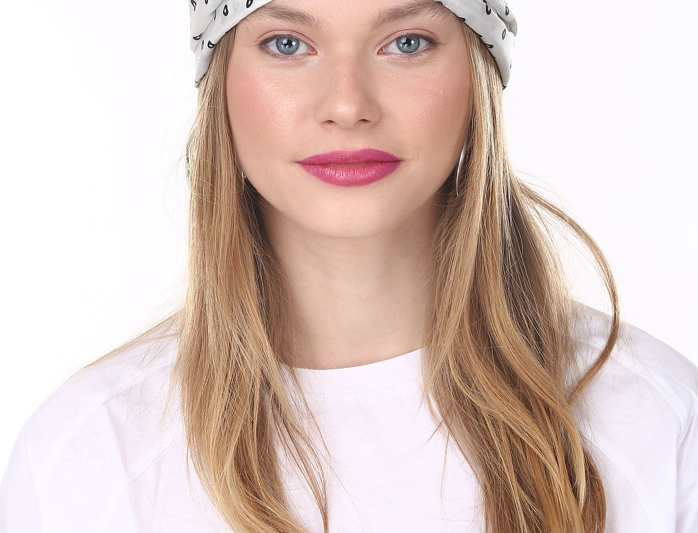 Thin Turban - White Black Satin