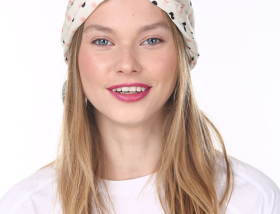 Thin Turban - White Dotted Satin