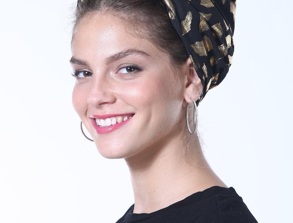 Knot Turban - Silky Black Feathers