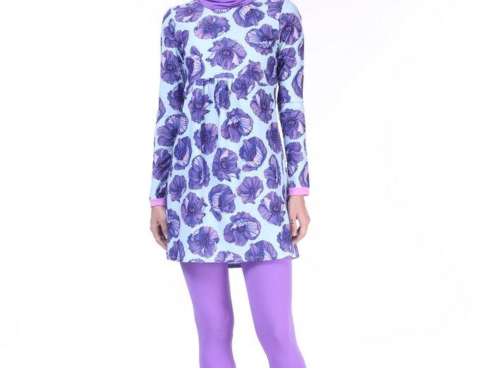 Burkini -Purple flowers