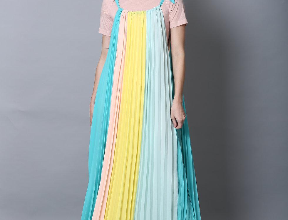 Pleated Dress -Turquoise Rain