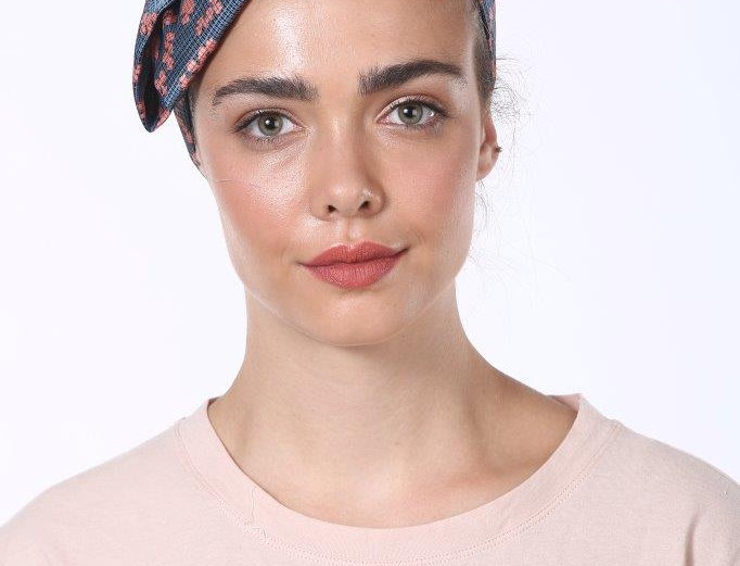 Partial/Full Bow Headband - Silky Blue Flower Print