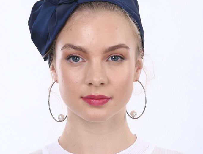 Partial/Full Satin Bow Headband - Navy Blue