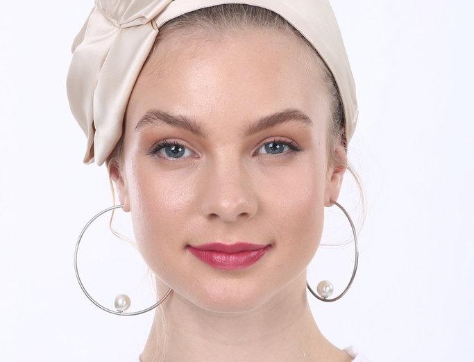 Partial/Full Satin Bow Headband - Champagne