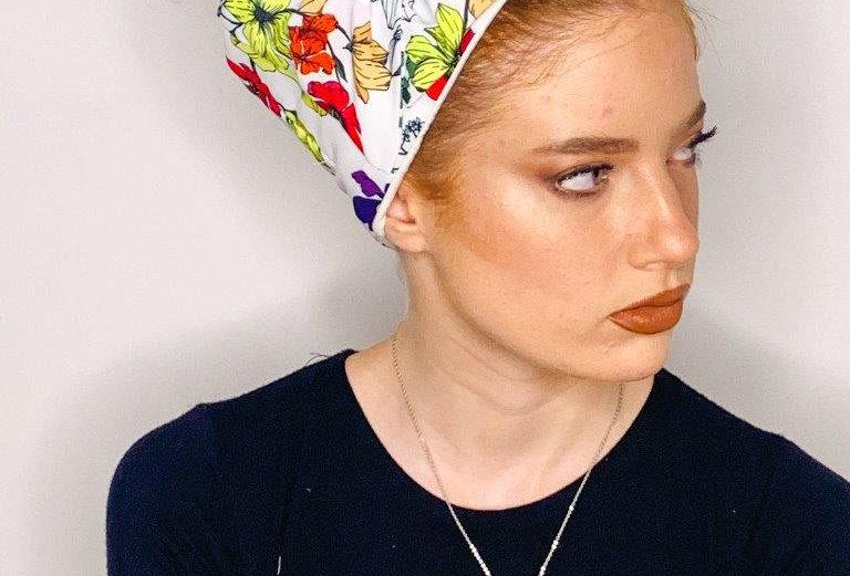 Partial/Full Bow Headband - White Flowers