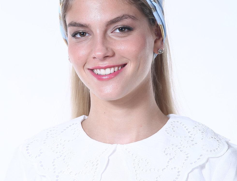 Thin Turban - Silky Light Blue Feathers