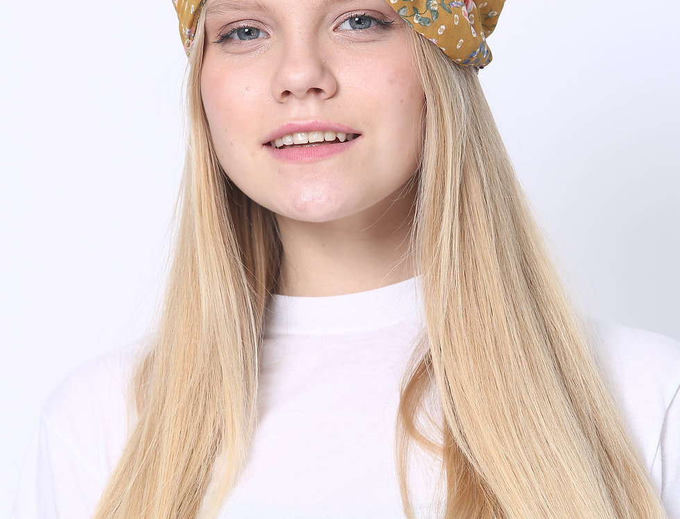 Partial/Full Printed Bow Headband - Leopard Mustard