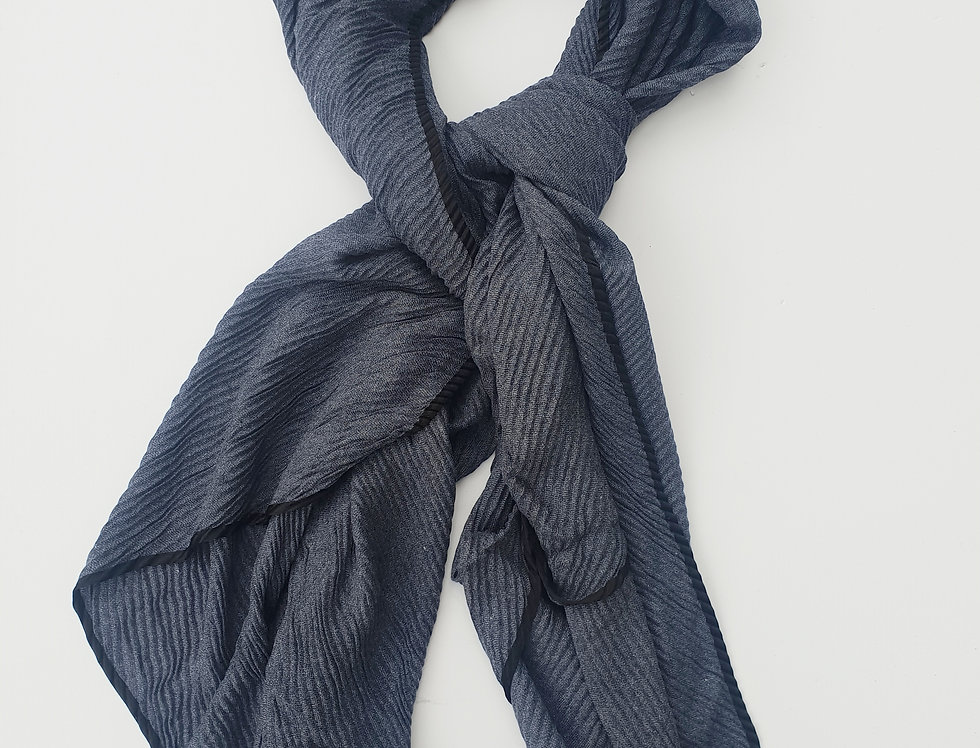 Scarf with Folds - Navy Blue