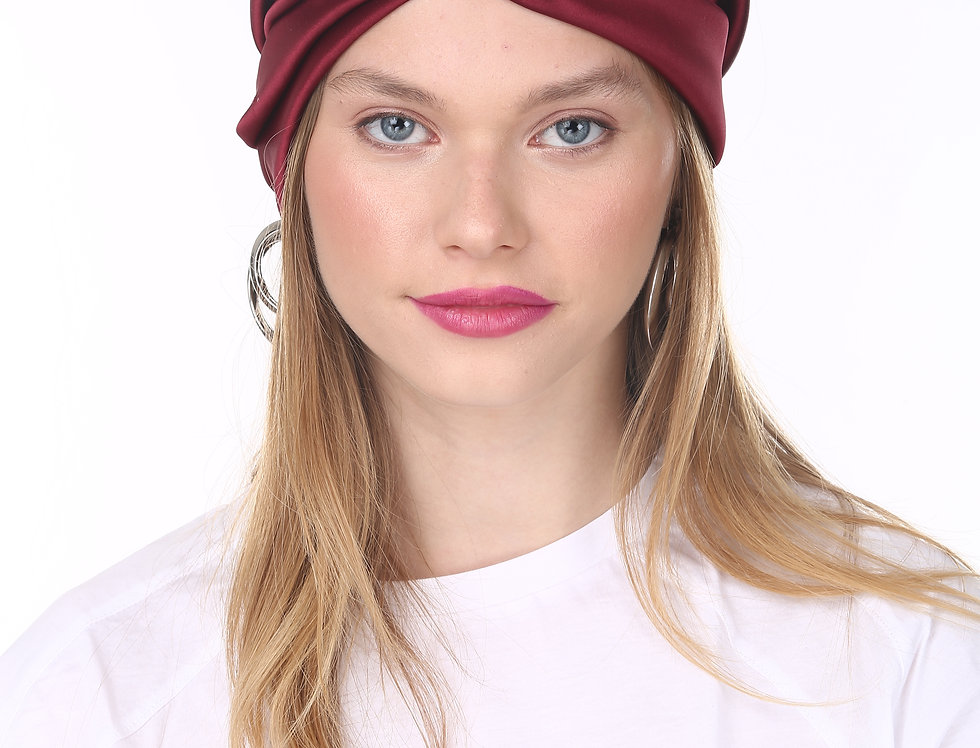Thin Turban - Bordeaux Satin