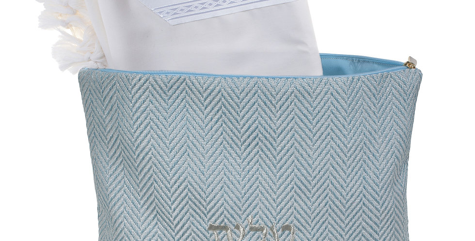 Tallit Bag  (Bellagio light blue- Zigzag)