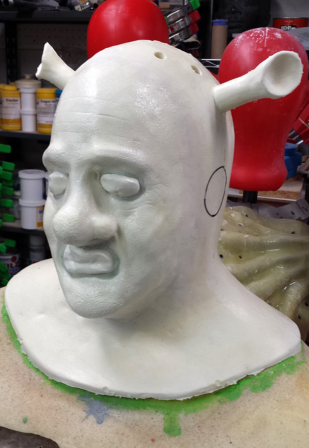 Unpainted Shrek prosthetic - foam latex