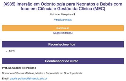 Curso de 48 horas de ciência e gestão em Odontologia para neonatos e bebês - CLIQUE NA IMAGEM PARA I