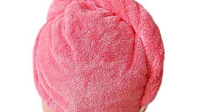 Turban avec bouton serviette microfbre séchage rapide