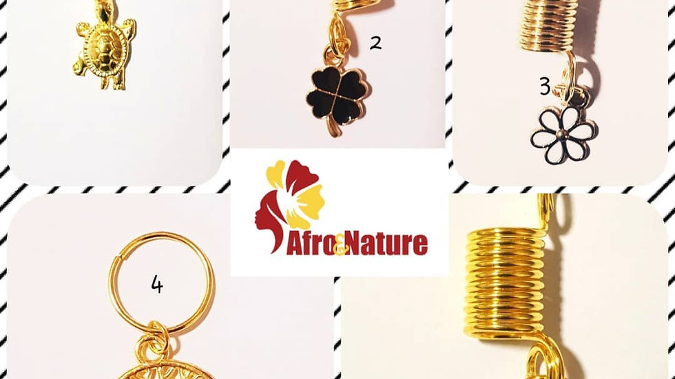 Lot de 4 Bijoux pour tresses, twists ou dreadlocks