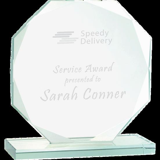 Jade Beveled Octagon Glass Award