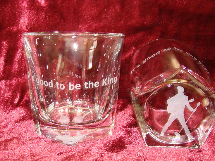 "Elvis ""It's good to be the king"" Two Etched Whiskey, Bourbon Rocks Glass."