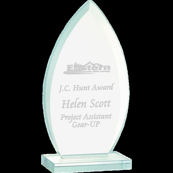 Jade Beveled Oval Glass Award