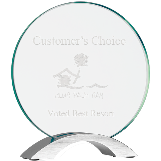 Etched Circular Glass Award With Logo