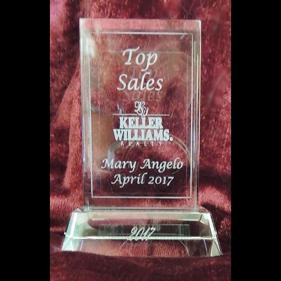 Etched Rectangular Jade Glass Award