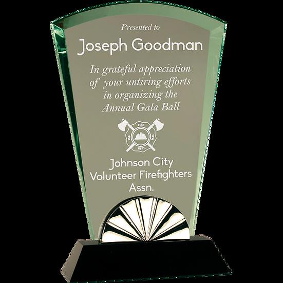 Jade Beveled Fan Glass Award With Black Base