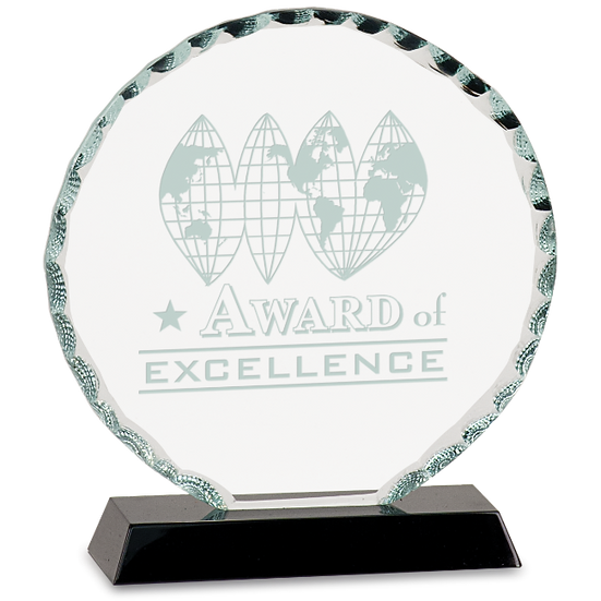 Etched Faceted Round Glass Award