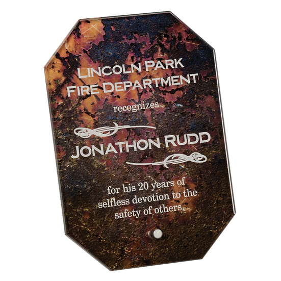 Engraved Marbled Rust Octagon Arista Glass Plaque
