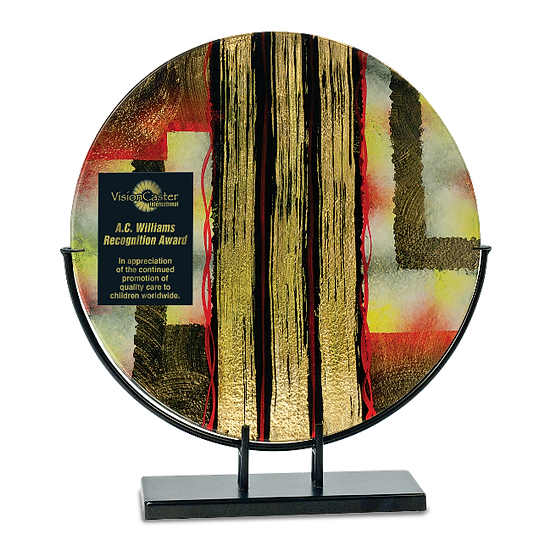 Engraved Circular Gold Striped Art Glass Award