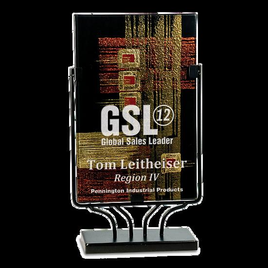 Engraved Rectangular Copper Gold and Black Art Glass Award