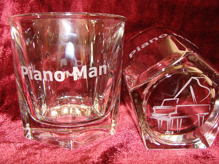 Piano Man Hand Etched Whiskey, Bourbon and Rocks Glasses.