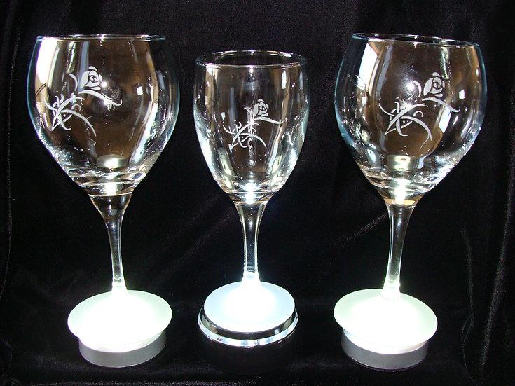 Hand Etched Sand Carved Rose Design Wine Glasses