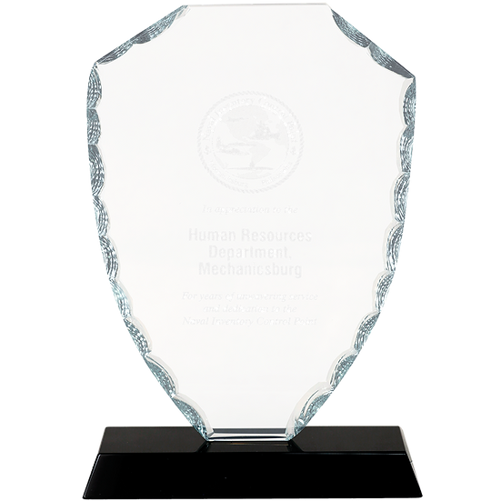 Etched Glass Faceted Shield Award