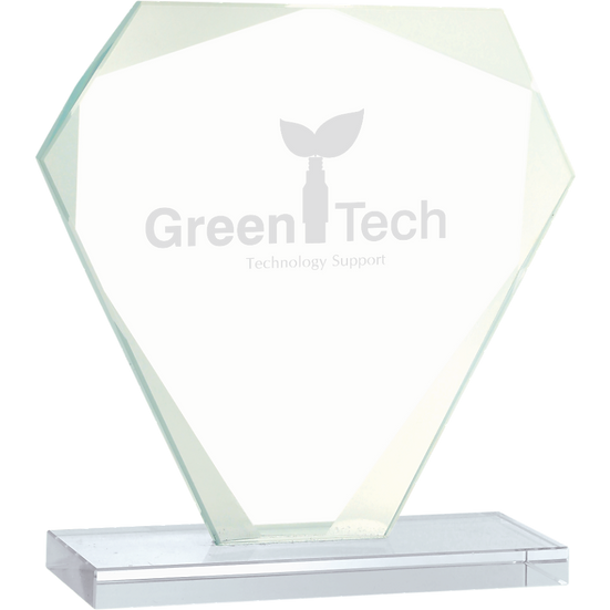 Jade Beveled Cut Diamond Glass Award