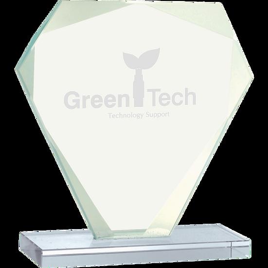 Jade Beveled Cut Diamond Glass Award