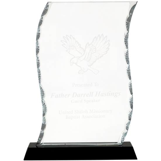 Etched Faceted Glass Scroll Award