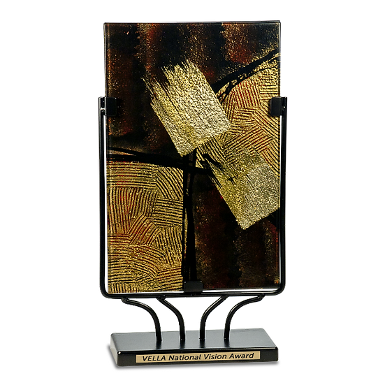 Engraved Rectangular Brown Gold and Black Art Glass Award