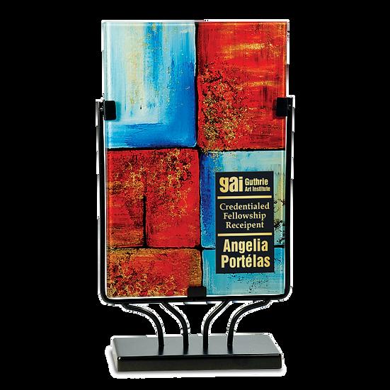 Engraved Rectangular Red and Blue Tiled Art Glass Award
