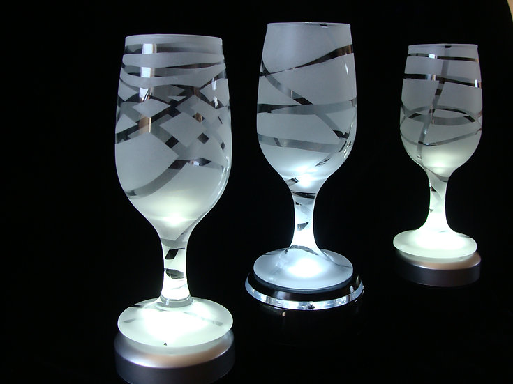 Hand Etched Sand Carved Wine Glasses.