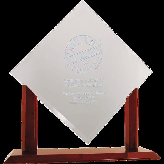 Clear Beveled Diamond Glass Award On Wood Base