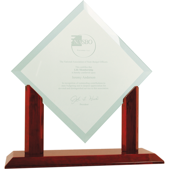 Jade Beveled Diamond Glass Award on Wood Stand