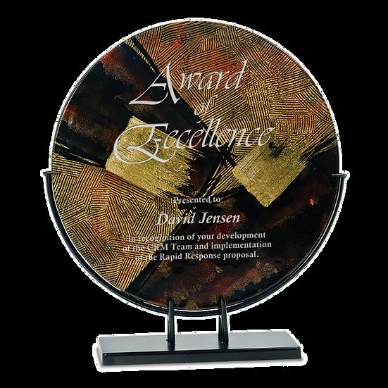 Engraved Circular Brown Gold and Black Art Glass Award