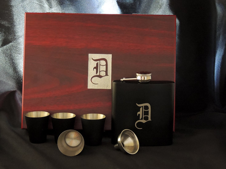 Flask Box and Accessory.  Engraved Monogram or Choose your own design.