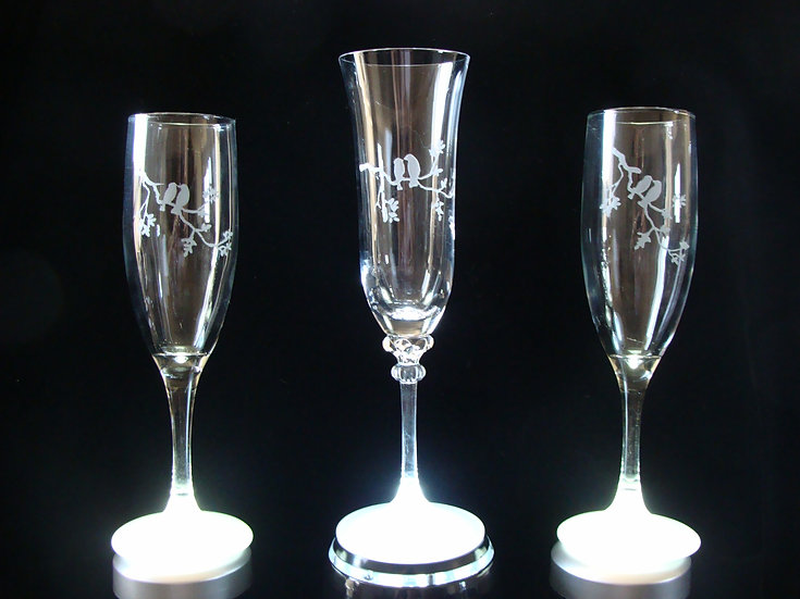 Hand Etched Personalized Love Champagne Glasses