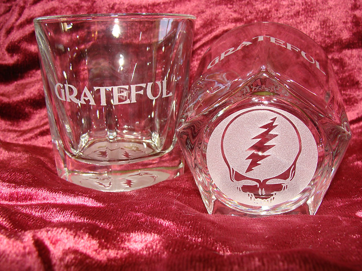 Grateful Two Etched Whiskey, Bourbon Rocks Glass