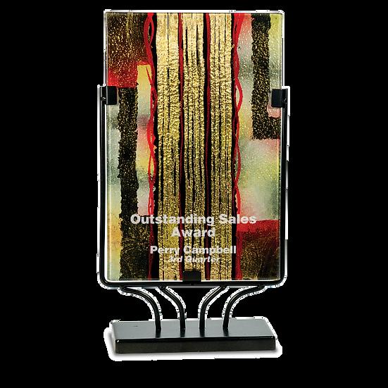 Engraved Rectangular Gold Striped Art Glass Award